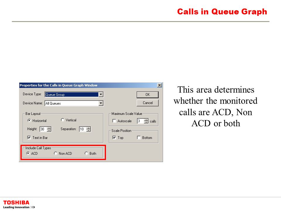 Calls in Queue Graph This area determines whether the monitored calls are ACD, Non ACD or both