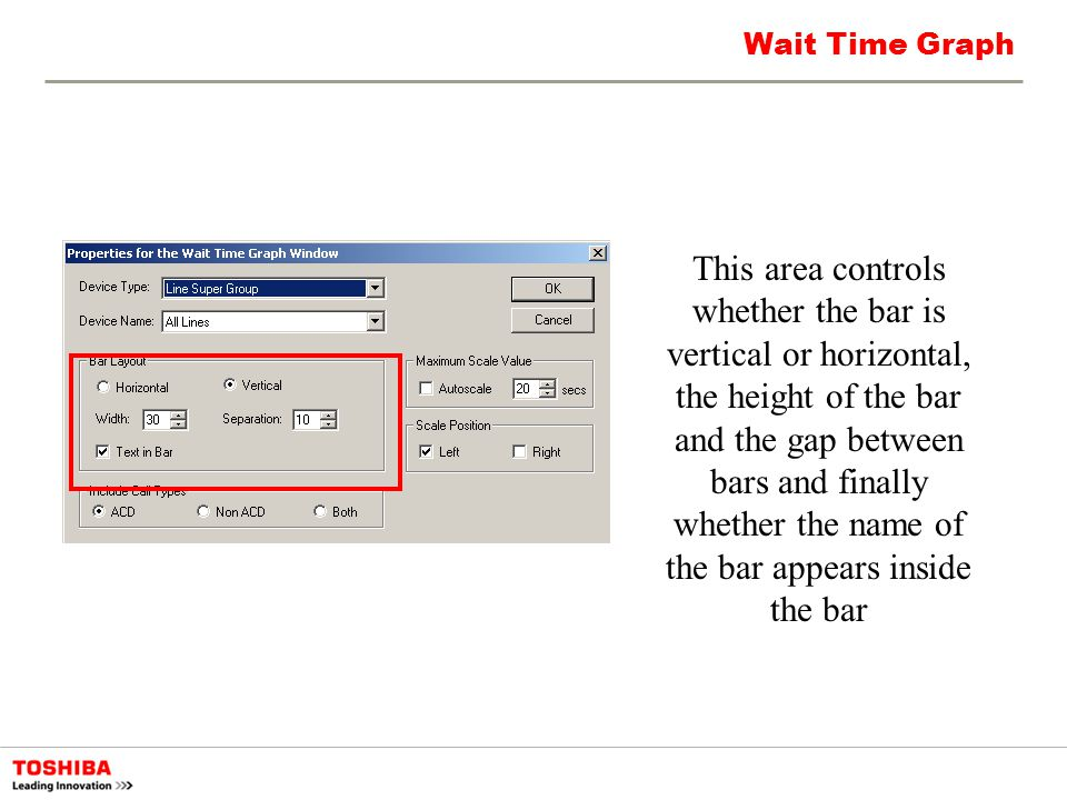 Wait Time Graph This area controls whether the bar is vertical or horizontal, the height of the bar and the gap between bars and finally whether the n