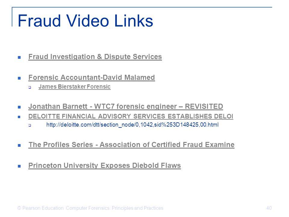 Fraud Video Links Fraud Investigation & Dispute Services Forensic Accountant-David Malamed James Bierstaker Forensic Jonathan Barnett - WTC7 forensic