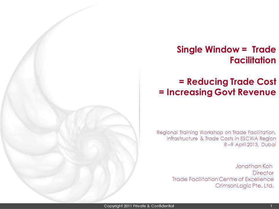 Copyright 2011 Private & Confidential 1 Single Window = Trade Facilitation = Reducing Trade Cost = Increasing Govt Revenue Regional Training Workshop