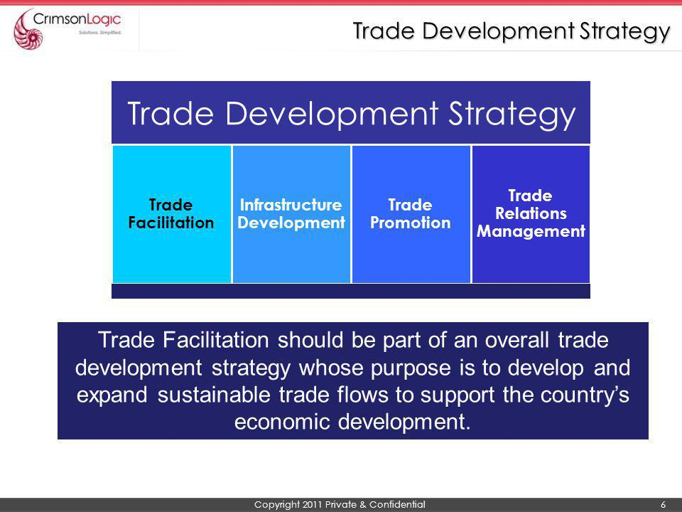 Copyright 2011 Private & Confidential 7 WTO Definition - The simplification and harmonisation of international trade procedures UN/CEFACT Definition - The simplification, standardisation and harmonisation of procedures and associated information flows required to move goods from seller to buyer and to make payment Principles of Trade Facilitation Simplification is the process of eliminating all unnecessary elements and duplications in formalities, process and procedures Harmonisation is the alignment of national formalities, procedures, operations and documents with international conventions, standards and practices Standardisation is the process of developing internationally agreed format for practices and procedures, documents and information.