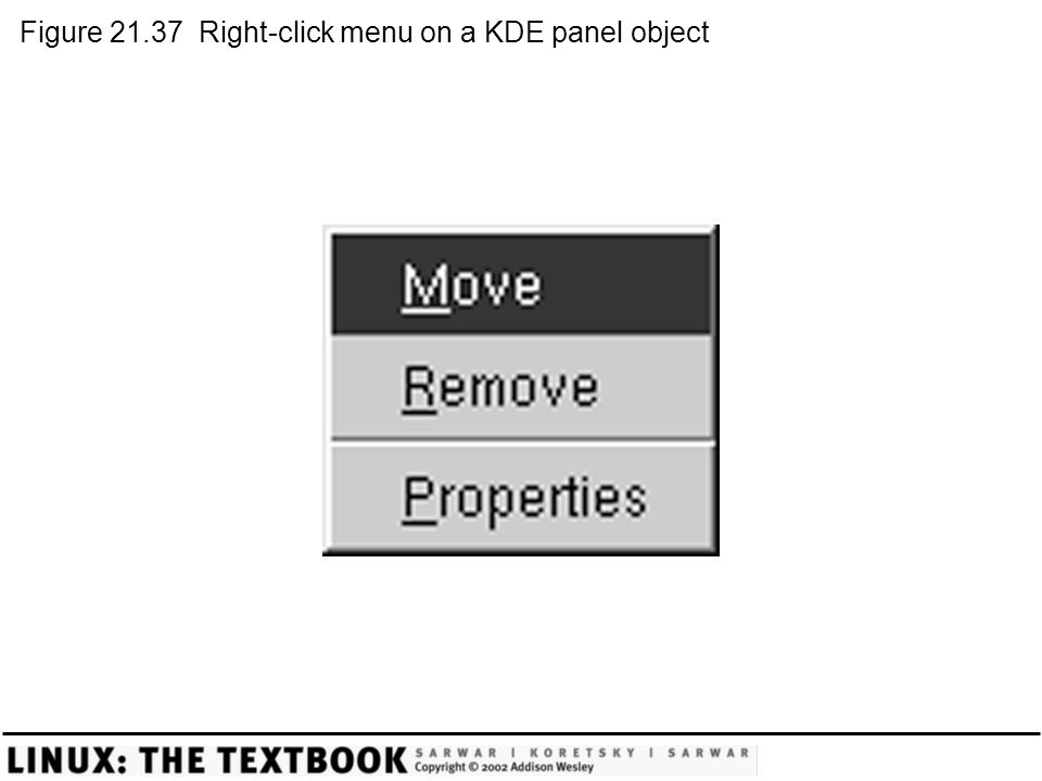 Figure 21.37 Right-click menu on a KDE panel object