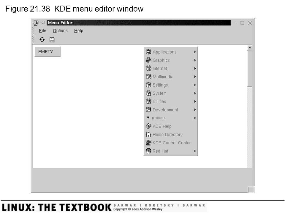 Figure 21.38 KDE menu editor window