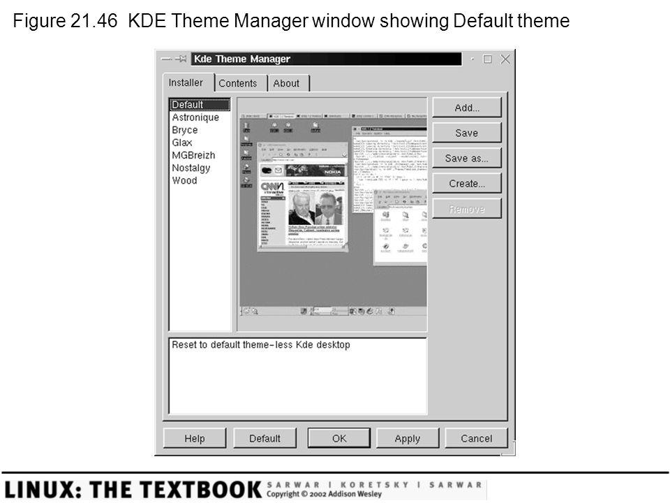 Figure 21.46 KDE Theme Manager window showing Default theme