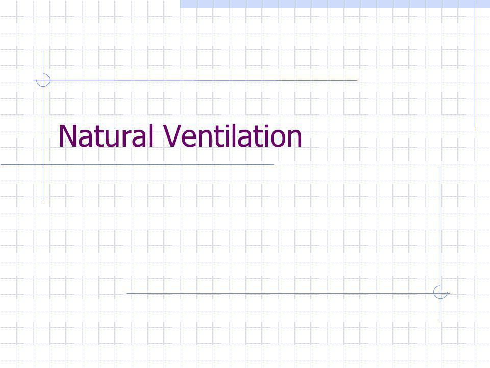 Natural Ventilation32 Advantages and Disadvantages of Fan Pressurization Advantages: It does not require sophisticated analytical equipment as do the tracer techniques It allows for a comparison of homes based on their relative leakiness irrespective of the prevailing weather conditions at the time of measurement It can be used to measure the effectiveness of retrofit measures Disadvantages: This is an indirect measure of infiltration and hence approximates the actual process through an inherently artificial process, pressurization or depressurization