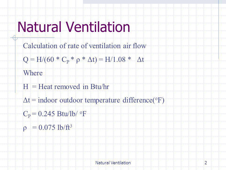 2 Calculation of rate of ventilation air flow Q = H/(60 * C P * ρ * Δt) = H/1.08 * Δt Where H = Heat removed in Btu/hr Δt = indoor outdoor temperature