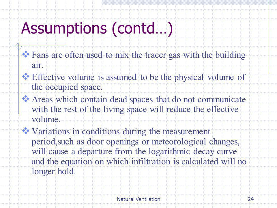 Natural Ventilation24 Assumptions (contd…) Fans are often used to mix the tracer gas with the building air. Effective volume is assumed to be the phys