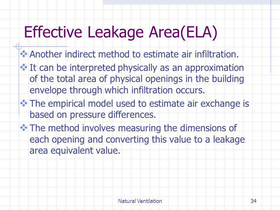 Natural Ventilation34 Effective Leakage Area(ELA) Another indirect method to estimate air infiltration. It can be interpreted physically as an approxi