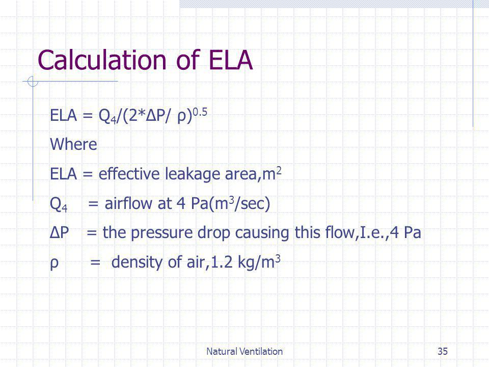 Natural Ventilation35 Calculation of ELA ELA = Q 4 /(2*ΔP/ ρ) 0.5 Where ELA = effective leakage area,m 2 Q 4 = airflow at 4 Pa(m 3 /sec) ΔP = the pres