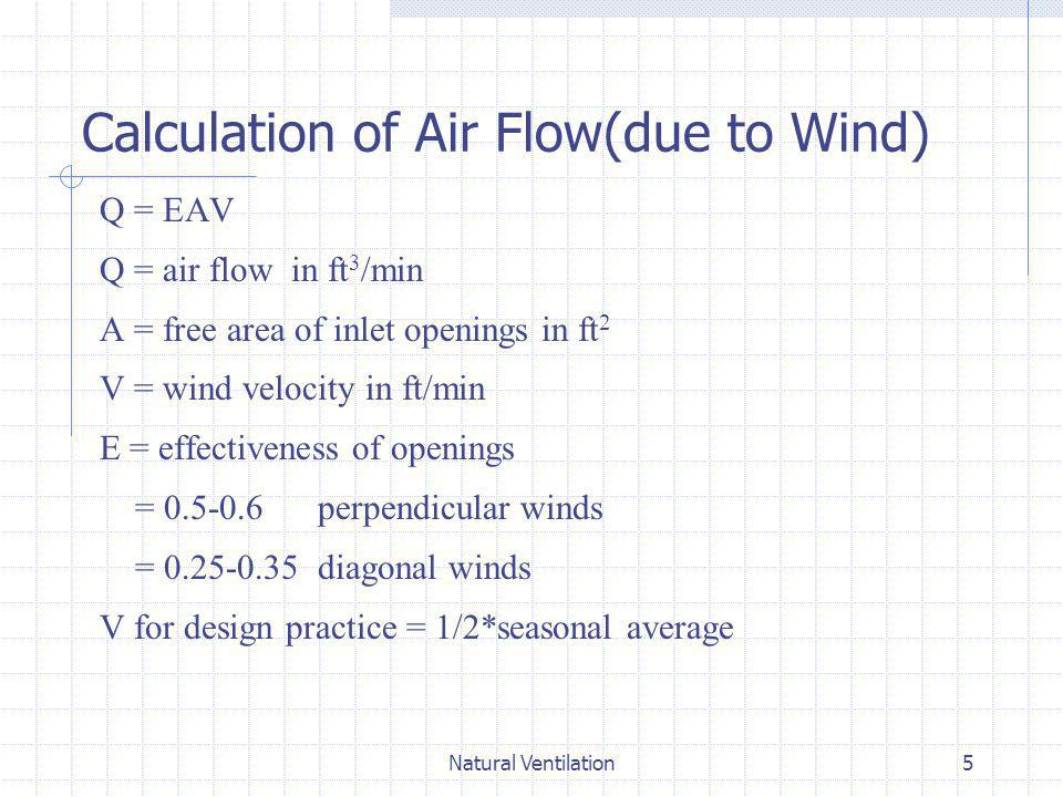 Natural Ventilation16 Pressure Difference Across the Building Envelope ΔP = P o +P w -P i Where ΔP = pressure difference between outdoors and indoors at the location P o = static pressure at reference height in the undisturbed flow P w = wind pressure at the location P i = interior pressure at the height of the location 1.