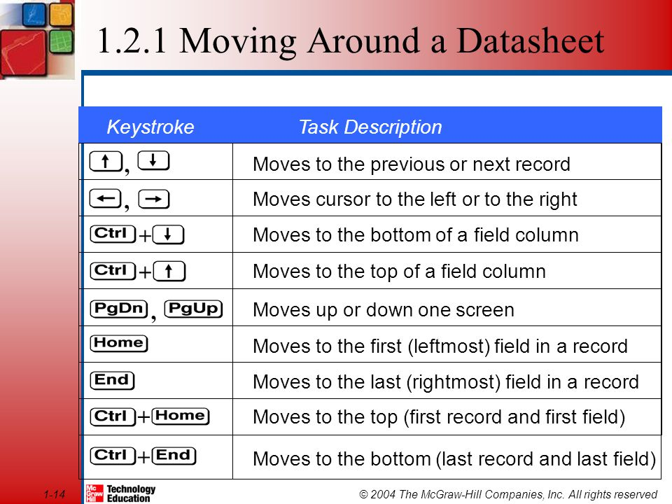© 2004 The McGraw-Hill Companies, Inc. All rights reserved1-14 Moves to the previous or next record Moves cursor to the left or to the right Moves to