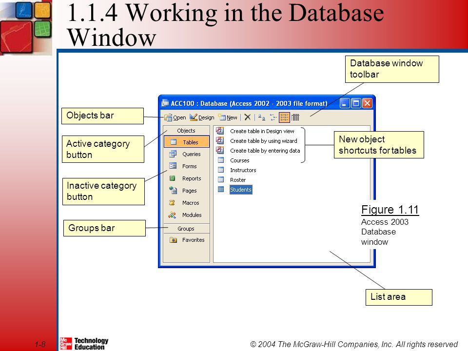 © 2004 The McGraw-Hill Companies, Inc. All rights reserved1-8 1.1.4 Working in the Database Window Figure 1.11 Access 2003 Database window List area N