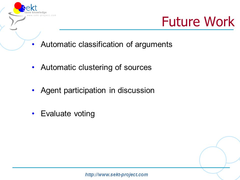http://www.sekt-project.com Future Work Automatic classification of arguments Automatic clustering of sources Agent participation in discussion Evalua
