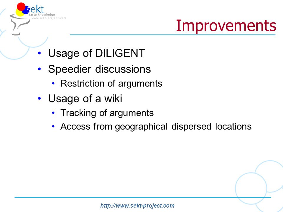http://www.sekt-project.com Improvements Usage of DILIGENT Speedier discussions Restriction of arguments Usage of a wiki Tracking of arguments Access