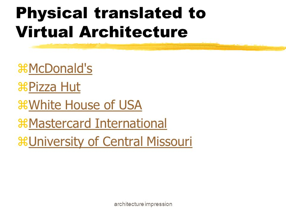 architecture impression Dramaturgical Perspective - Fronts zAppearance - stimuli which tell us about social status, ritual state (formal or informal) yon web: text, graphics, hyperlinks yhttp://www.eat.com zManner - stimuli about role (aggressive, meek) yon web: nature of page, interactiveness