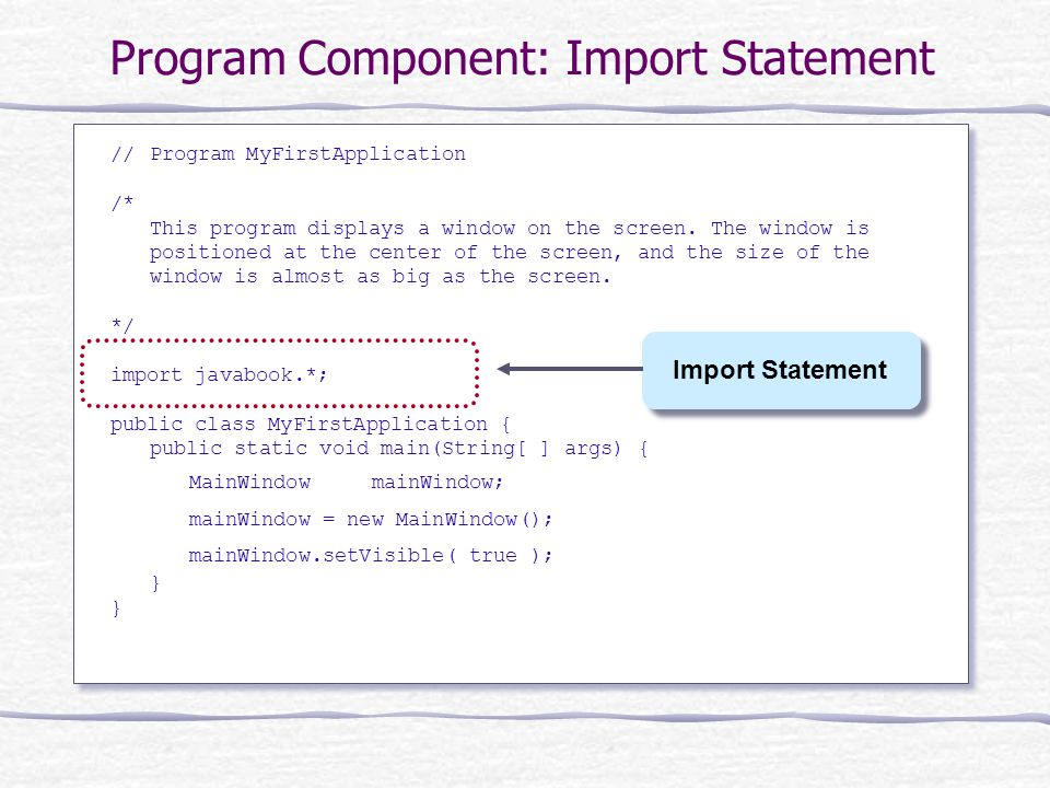 Program Component: Import Statement //Program MyFirstApplication /* This program displays a window on the screen.