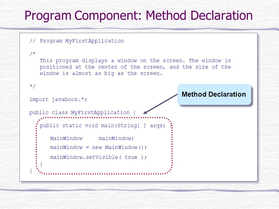 Program Component: Method Declaration //Program MyFirstApplication /* This program displays a window on the screen.