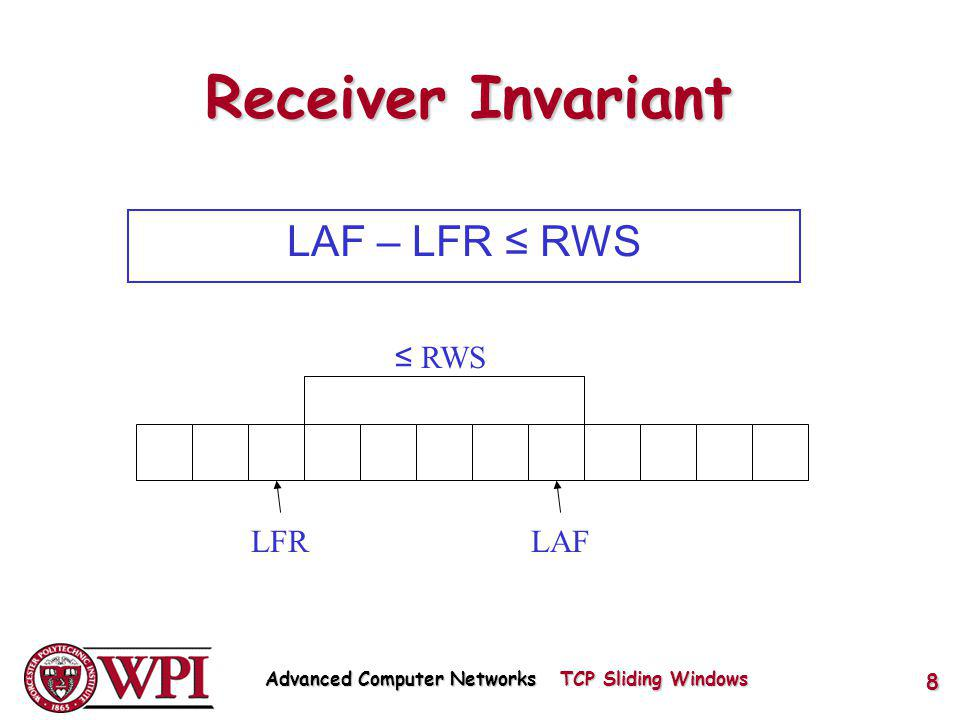 Receiver Invariant LAF – LFR RWS LFRLAF RWS Advanced Computer Networks TCP Sliding Windows 8