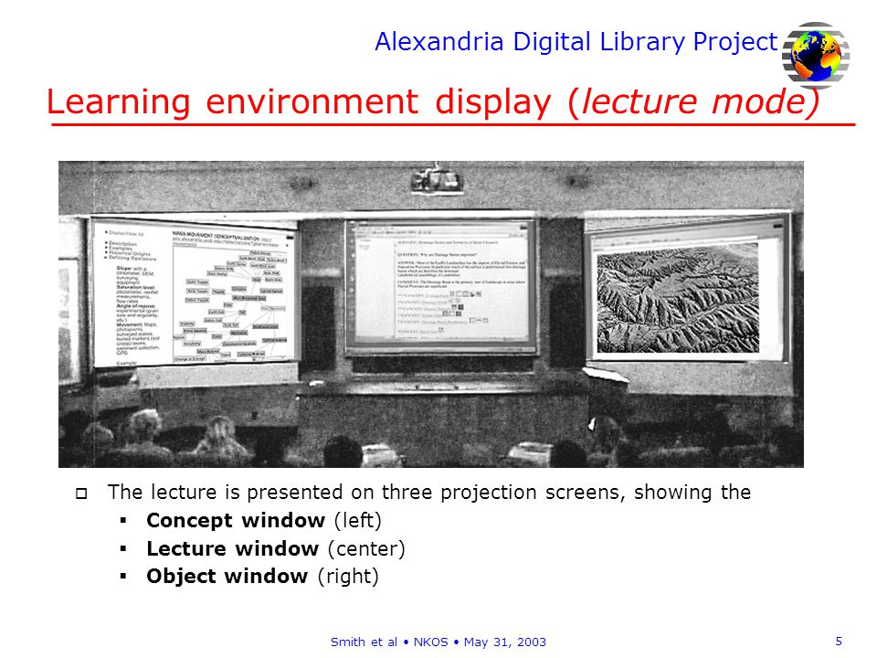 Alexandria Digital Library Project 5 Smith et al NKOS May 31, 2003 Learning environment display (lecture mode) o The lecture is presented on three projection screens, showing the Concept window (left) Lecture window (center) Object window (right)