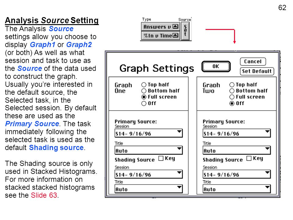 62 Analysis Source Setting The Analysis Source settings allow you choose to display Graph1 or Graph2 (or both) As well as what session and task to use