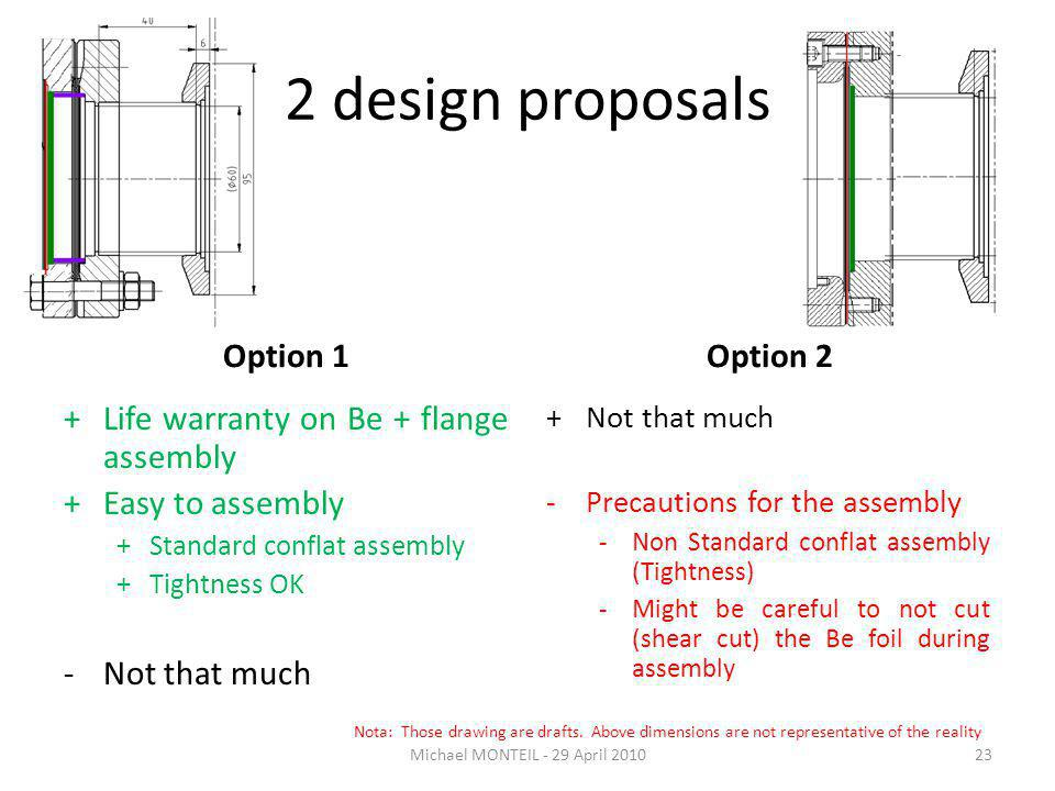 2 design proposals Option 1Option 2 +Not that much -Precautions for the assembly -Non Standard conflat assembly (Tightness) -Might be careful to not cut (shear cut) the Be foil during assembly Michael MONTEIL - 29 April 201023 +Life warranty on Be + flange assembly +Easy to assembly +Standard conflat assembly +Tightness OK -Not that much Nota: Those drawing are drafts.