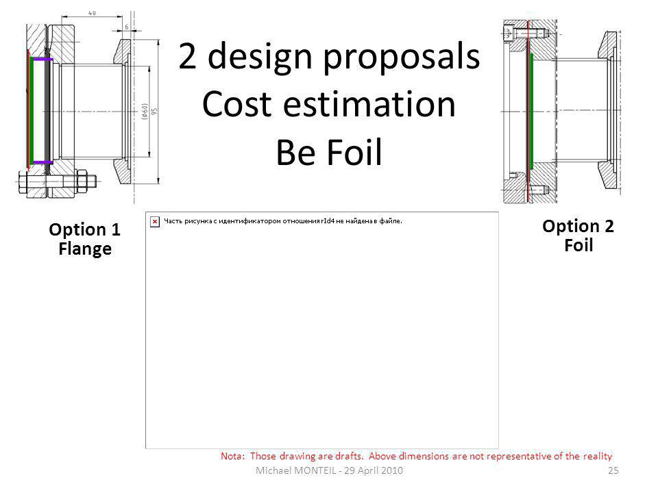 2 design proposals Cost estimation Be Foil Option 1 Flange Option 2 Foil Michael MONTEIL - 29 April 201025 Nota: Those drawing are drafts.