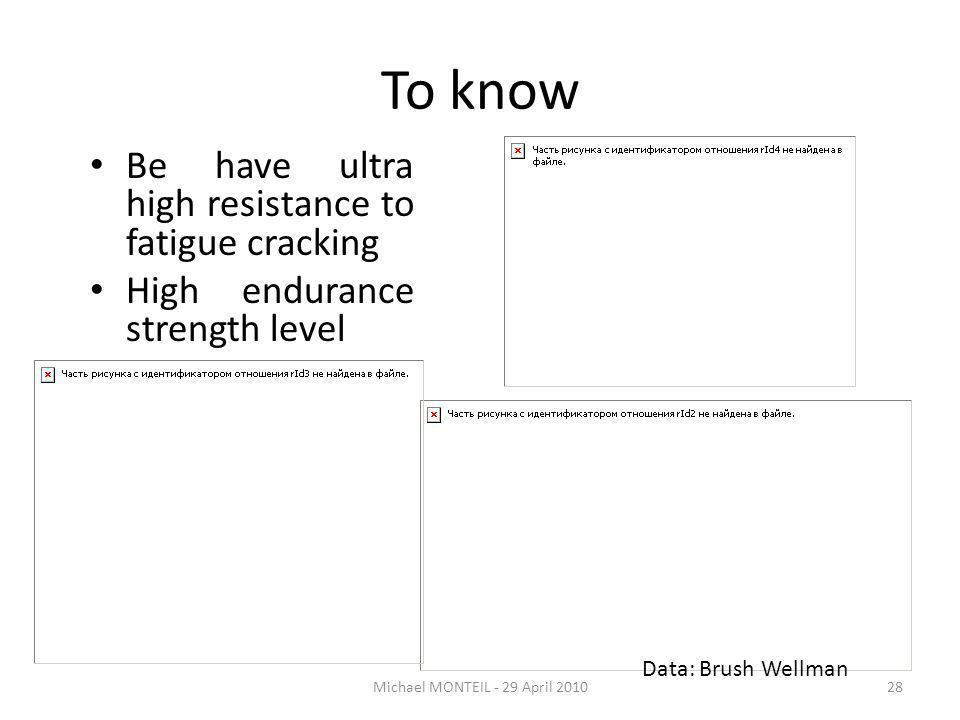 To know Be have ultra high resistance to fatigue cracking High endurance strength level Michael MONTEIL - 29 April 201028 Data: Brush Wellman