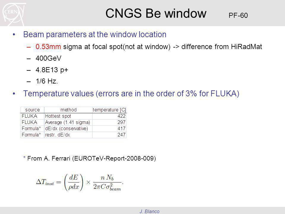 J. Blanco CNGS Be window Beam parameters at the window location –0.53mm sigma at focal spot(not at window) -> difference from HiRadMat –400GeV –4.8E13