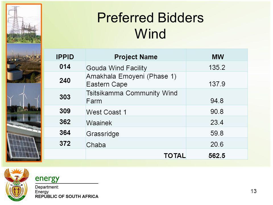 Preferred Bidders Wind 13 IPPIDProject Name MW 014 Gouda Wind Facility135.2 240 Amakhala Emoyeni (Phase 1) Eastern Cape137.9 303 Tsitsikamma Community Wind Farm94.8 309 West Coast 190.8 362 Waainek23.4 364 Grassridge59.8 372 Chaba20.6 TOTAL562.5