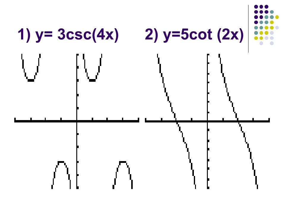 1) y= 3csc(4x) 2) y=5cot (2x)