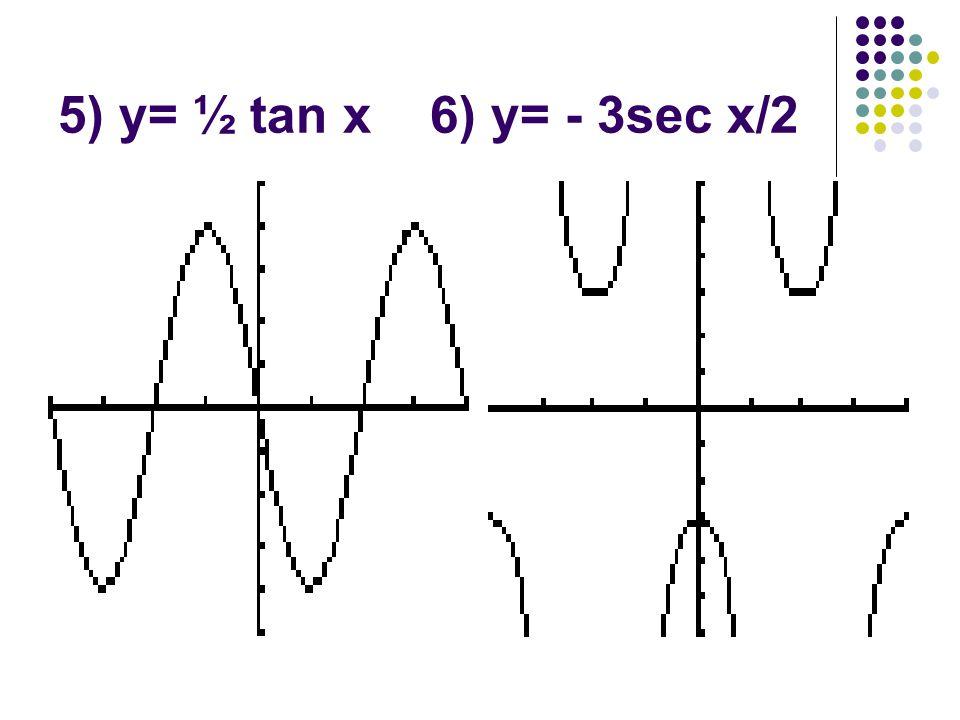 5) y= ½ tan x 6) y= - 3sec x/2