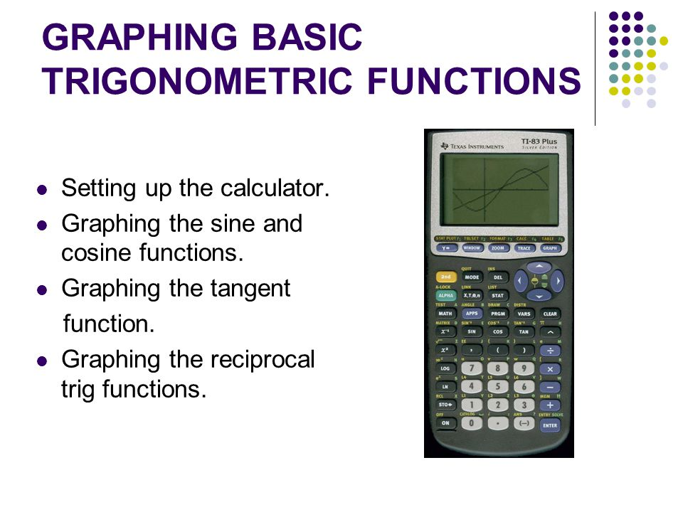 GRAPHING BASIC TRIGONOMETRIC FUNCTIONS Setting up the calculator. Graphing the sine and cosine functions. Graphing the tangent function. Graphing the