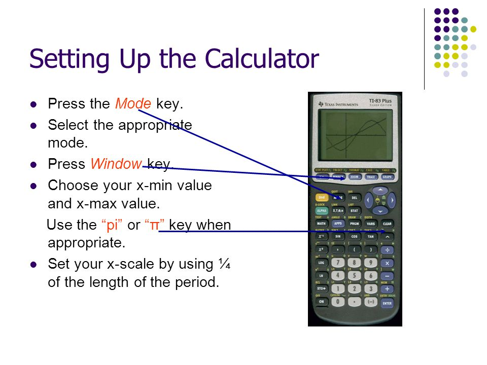 Setting Up the Calculator Press the Mode key. Select the appropriate mode. Press Window key. Choose your x-min value and x-max value. Use the pi or π