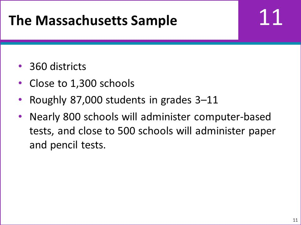 11 360 districts Close to 1,300 schools Roughly 87,000 students in grades 3–11 Nearly 800 schools will administer computer-based tests, and close to 500 schools will administer paper and pencil tests.