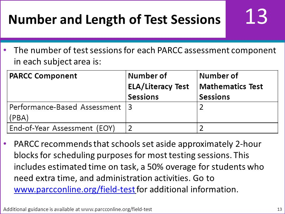 13 The number of test sessions for each PARCC assessment component in each subject area is: PARCC recommends that schools set aside approximately 2-hour blocks for scheduling purposes for most testing sessions.