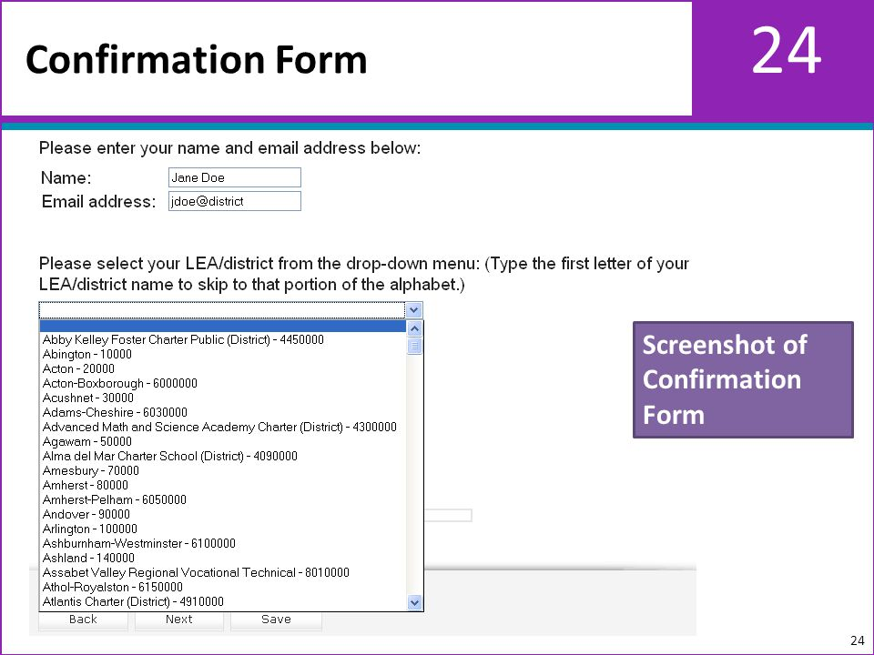 24 Confirmation Form 24 Screenshot of Confirmation Form