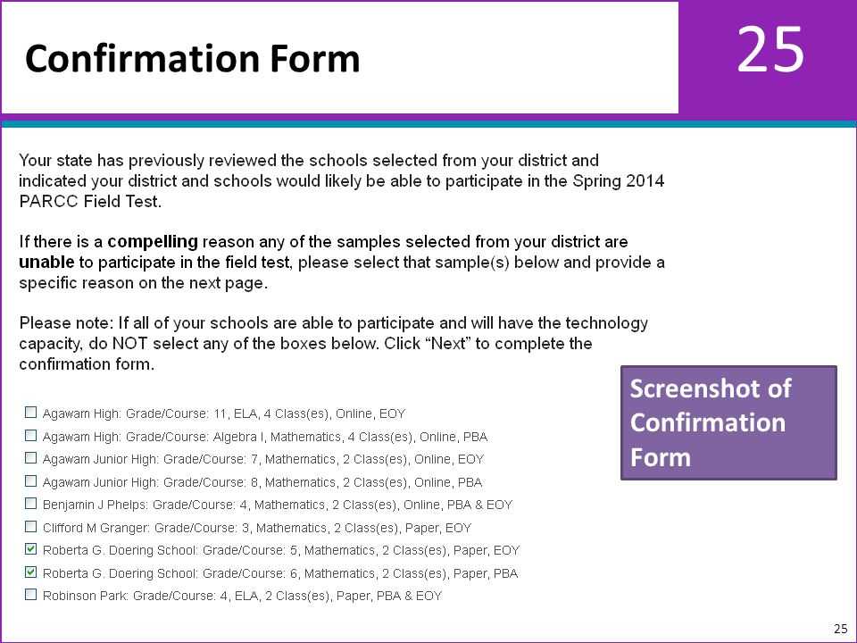 25 Confirmation Form 25 Screenshot of Confirmation Form