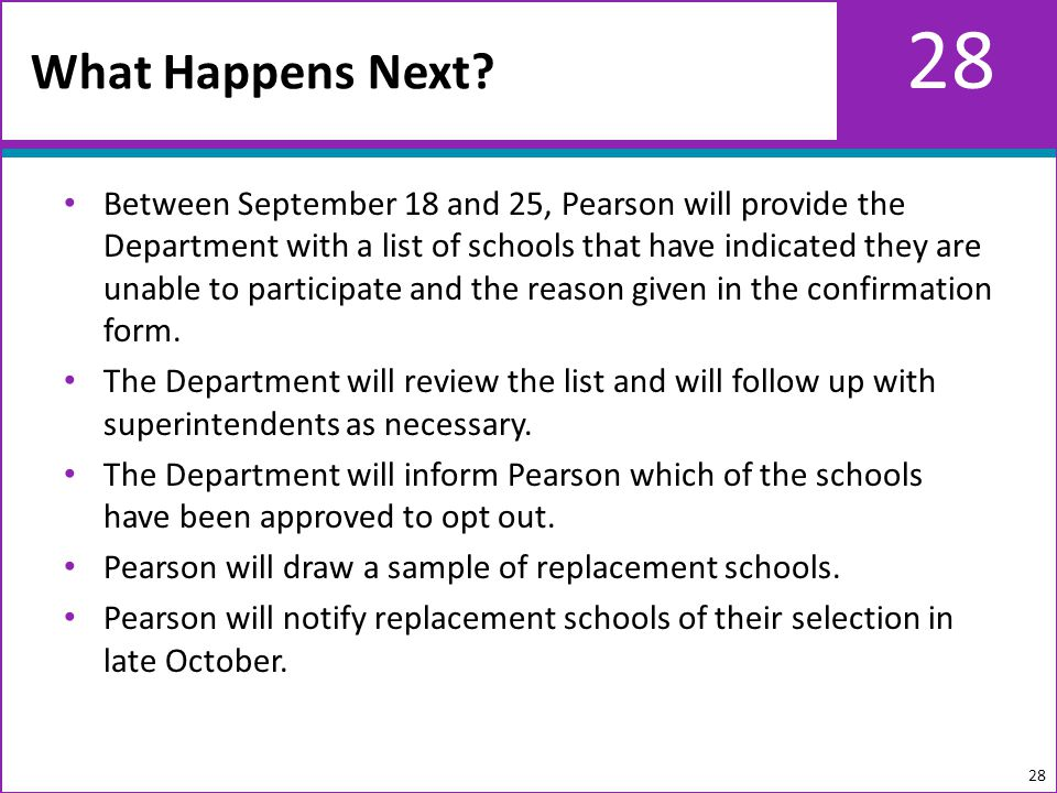 28 Between September 18 and 25, Pearson will provide the Department with a list of schools that have indicated they are unable to participate and the reason given in the confirmation form.