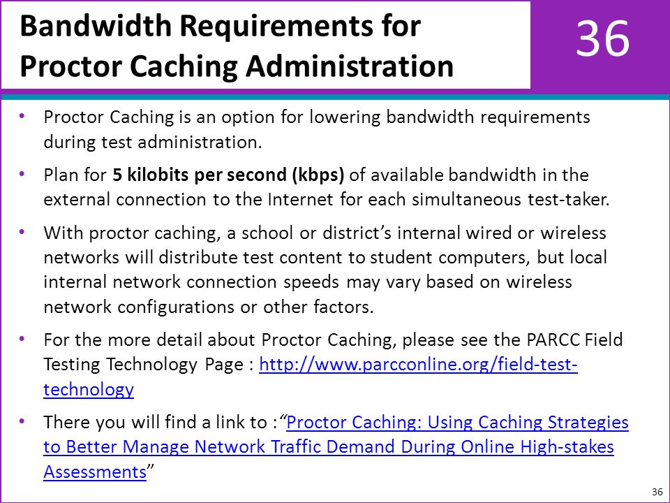 36 Proctor Caching is an option for lowering bandwidth requirements during test administration.