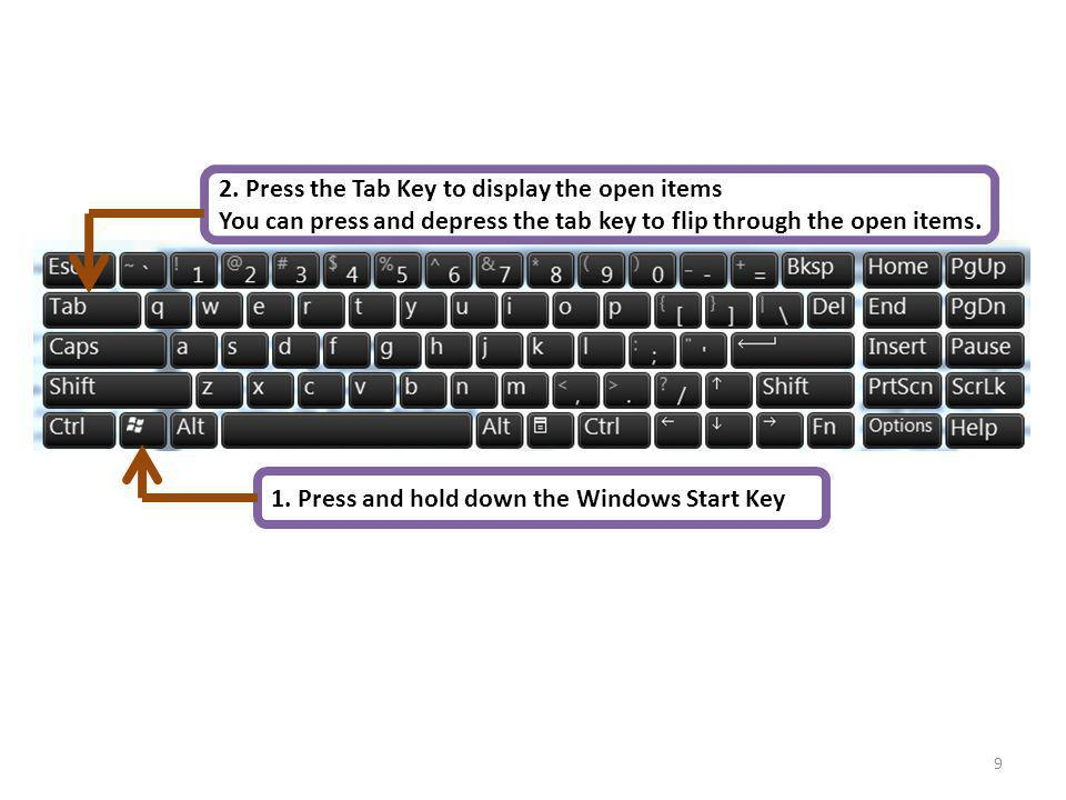 9 1. Press and hold down the Windows Start Key 2. Press the Tab Key to display the open items You can press and depress the tab key to flip through th