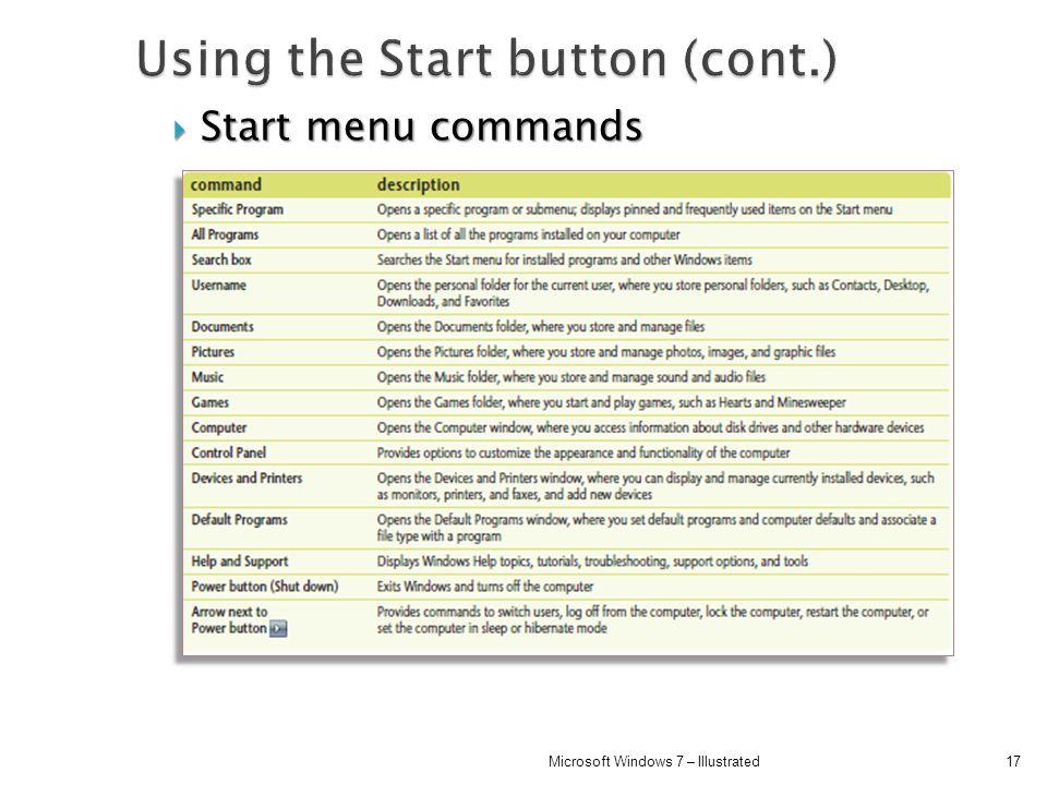Start menu commands Start menu commands 17Microsoft Windows 7 – Illustrated