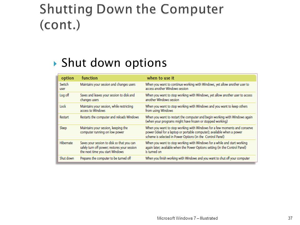 Shut down options 37Microsoft Windows 7 – Illustrated