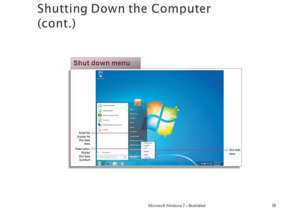 38Microsoft Windows 7 – Illustrated Shut down menu
