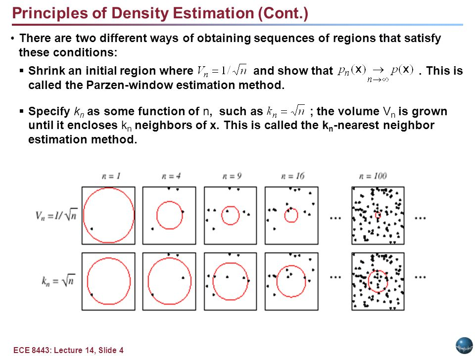 ECE 8443: Lecture 14, Slide 5 Parzen Windows Parzen-window approach to estimate densities assume that the region R n is a d-dimensional hypercube: ((x-x i )/h n ) is equal to unity if x i falls within the hypercube of volume V n centered at x and equal to zero otherwise.