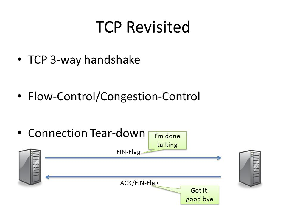 TCP Revisited TCP 3-way handshake Flow-Control/Congestion-Control Connection Tear-down FIN-Flag ACK/FIN-Flag Im done talking Got it, good bye