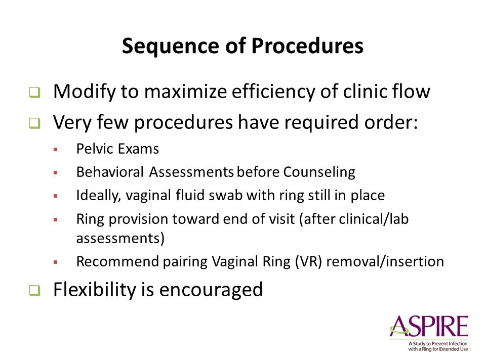 Sequence of Procedures Modify to maximize efficiency of clinic flow Very few procedures have required order: Pelvic Exams Behavioral Assessments befor