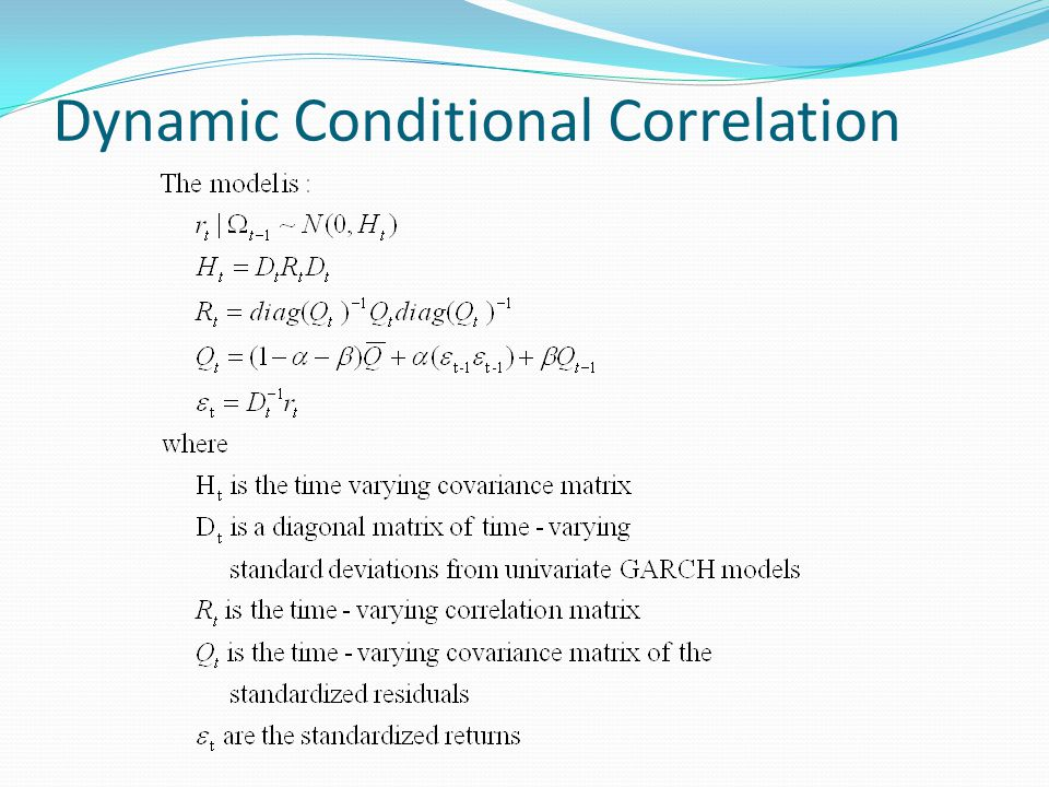 Dynamic Conditional Correlation