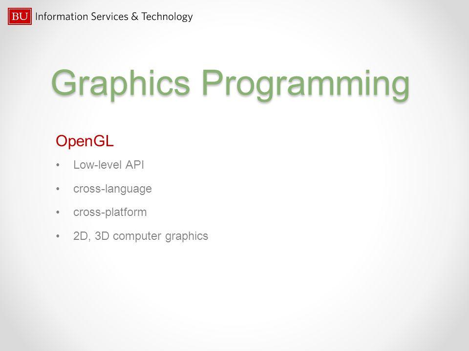 Graphics Programming OpenGL Low-level API cross-language cross-platform 2D, 3D computer graphics