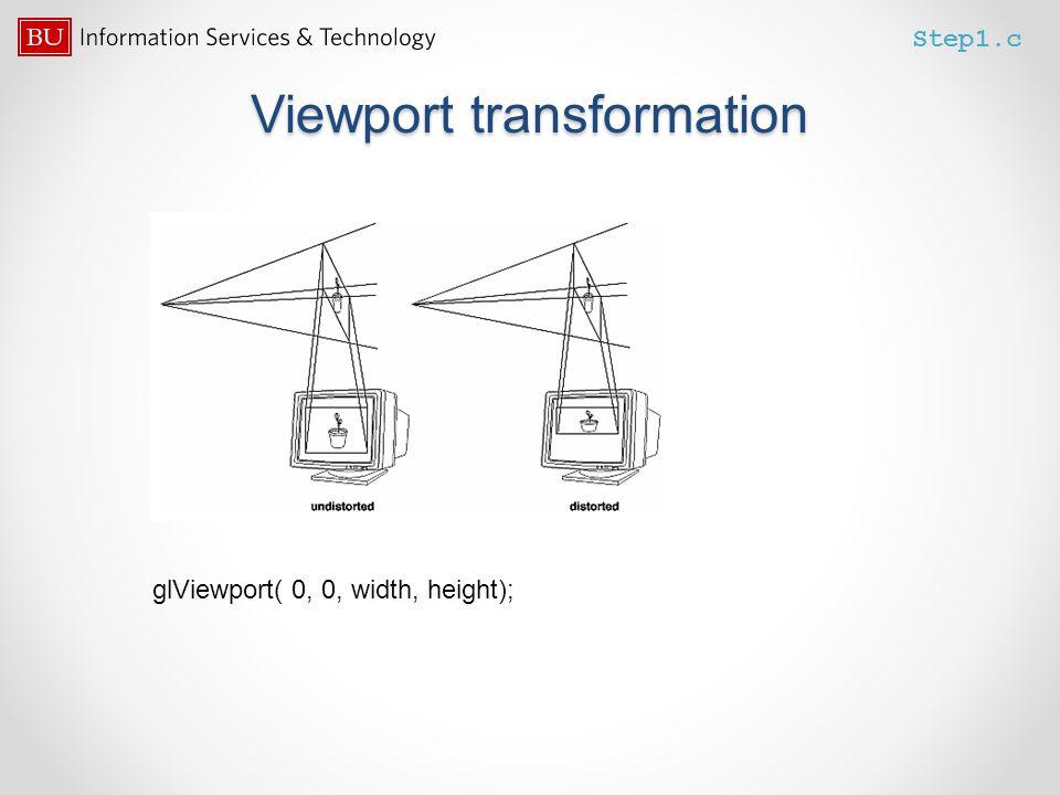 Viewport transformation Step1.c glViewport( 0, 0, width, height);