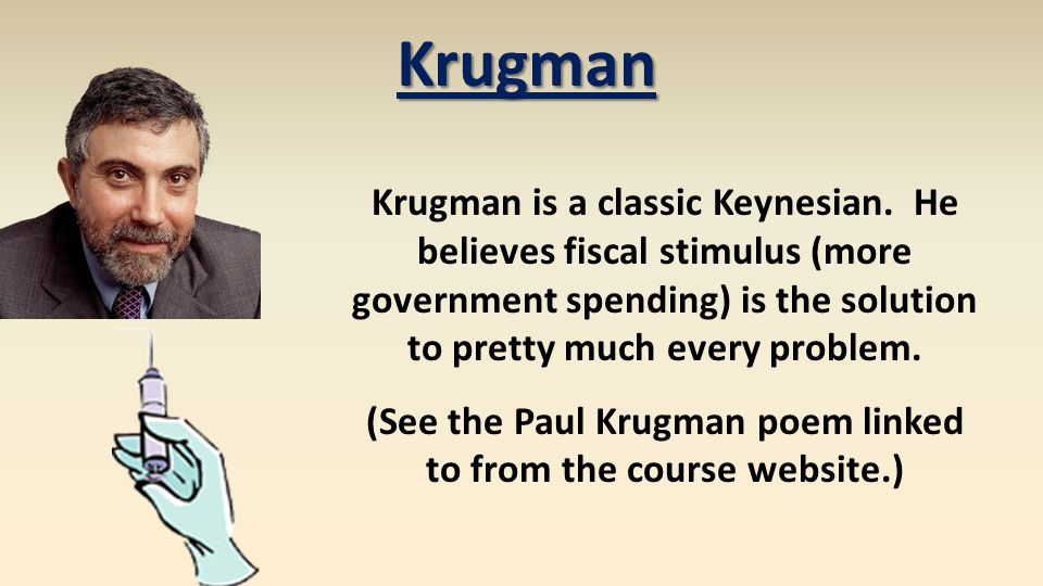 Krugman is a classic Keynesian. He believes fiscal stimulus (more government spending) is the solution to pretty much every problem. (See the Paul Kru